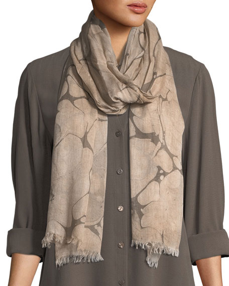 Eileen Fisher Marble-Print Fringed-Trim Scarf