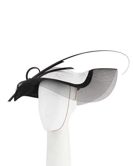 Philip Treacy Wave Two-Tone Straw Hat w/ Feather