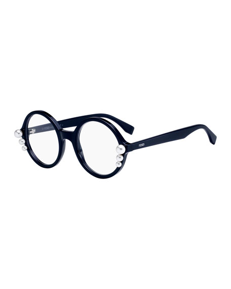 Round Optical Frames W/ Pearly Trim in Blue