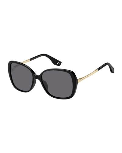 Round Acetate & Metal Polarized Sunglasses, Black