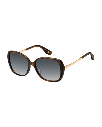 Round Acetate & Metal Polarized Sunglasses, Brown Pattern