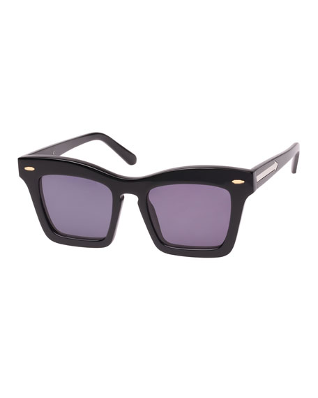 Karen Walker Banks Rectangle Acetate Sunglasses, Black Pattern