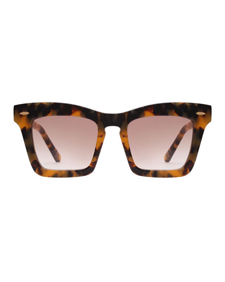 Banks Rectangle Acetate Sunglasses, Brown Pattern