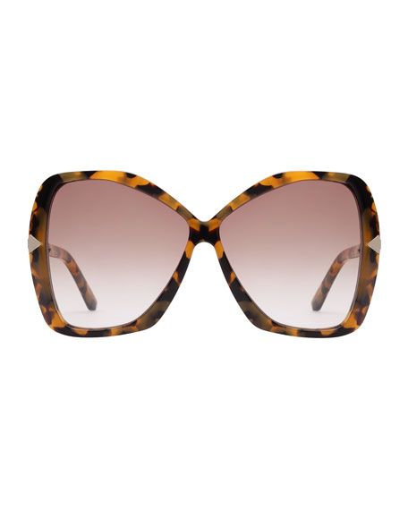 Mary Acetate Butterfly Sunglasses, Brown Pattern
