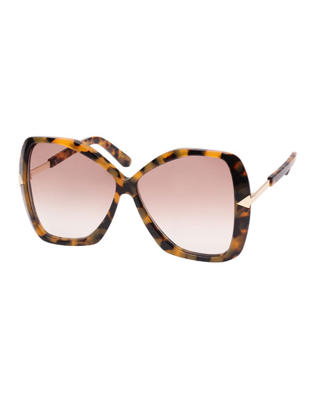 Karen Walker Mary Acetate Butterfly Sunglasses, Brown Pattern