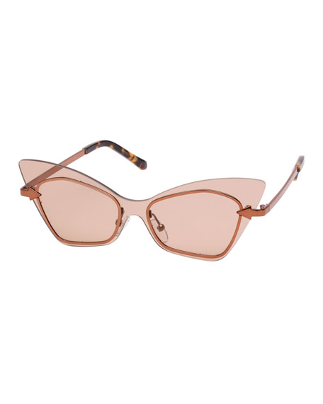 Karen Walker Mrs. Brill Cat-Eye Semi-Rimless Sunglasses, Brown