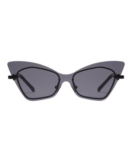 Mrs. Brill Cat-Eye Semi-Rimless Sunglasses, Black Pattern