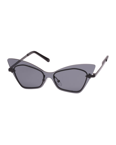 Karen Walker Mrs. Brill Cat-Eye Semi-Rimless Sunglasses, Black