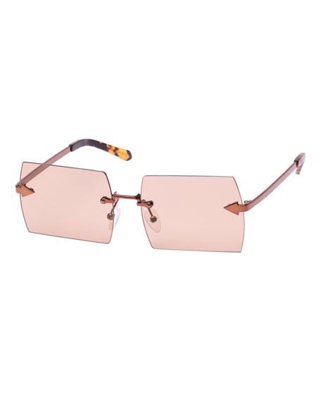 Karen Walker The Bird Rimless Rectangle Sunglasses, Brown
