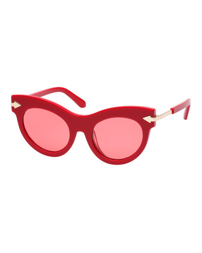 Miss Lark Cat-Eye Acetate Sunglasses, Red Pattern