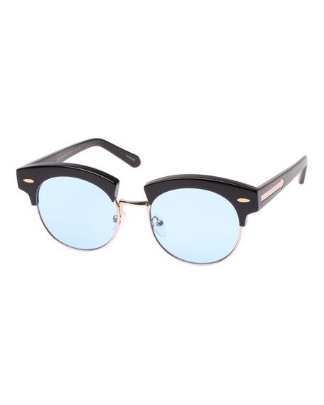 The Constable Round Semi-Rimless Sunglasses, Black Pattern
