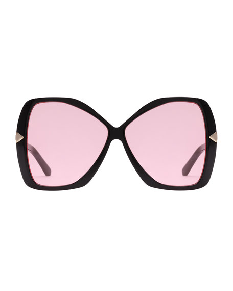 Mary Acetate Butterfly Sunglasses, Black Pattern