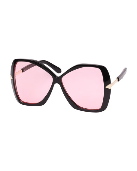 Karen Walker Mary Acetate Butterfly Sunglasses, Black Pattern