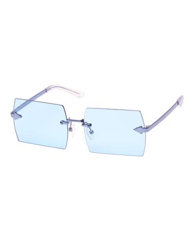 The Bird Rimless Rectangle Sunglasses, Blue Pattern