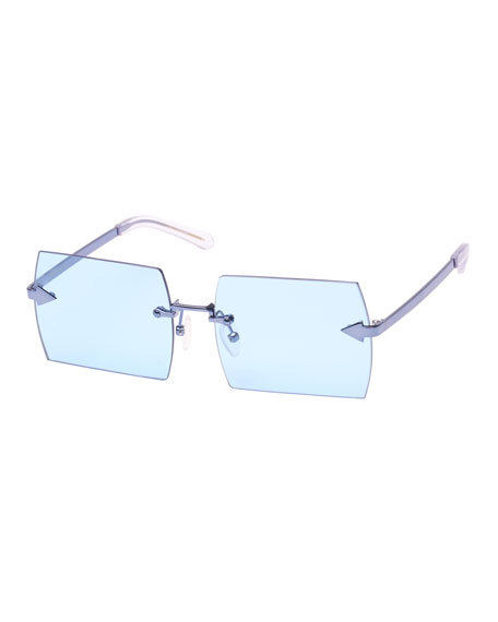 The Bird Rimless Square Sunglasses, Blue Pattern
