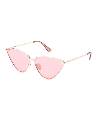 Nero Angled Metal Cat-Eye Mirrored Sunglasses