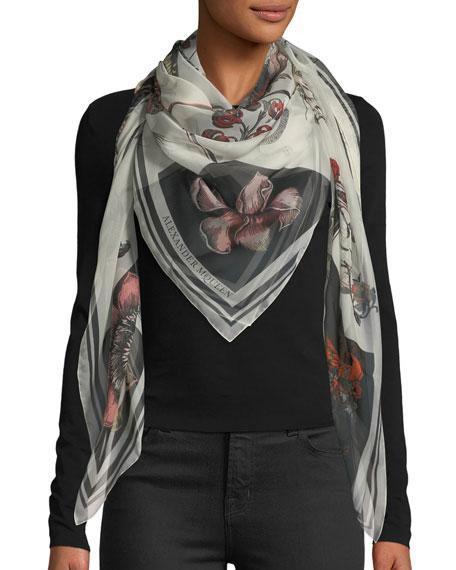 Alexander McQueen Skull & Roses Patchwork Silk Shawl