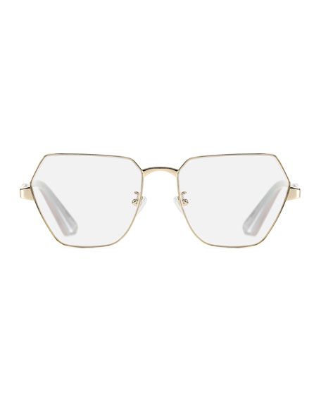 Henly Geo Square Metal Optical Frames, Yellow Pattern