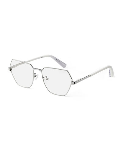 Henly Geo Square Metal Optical Frames, Gray Pattern