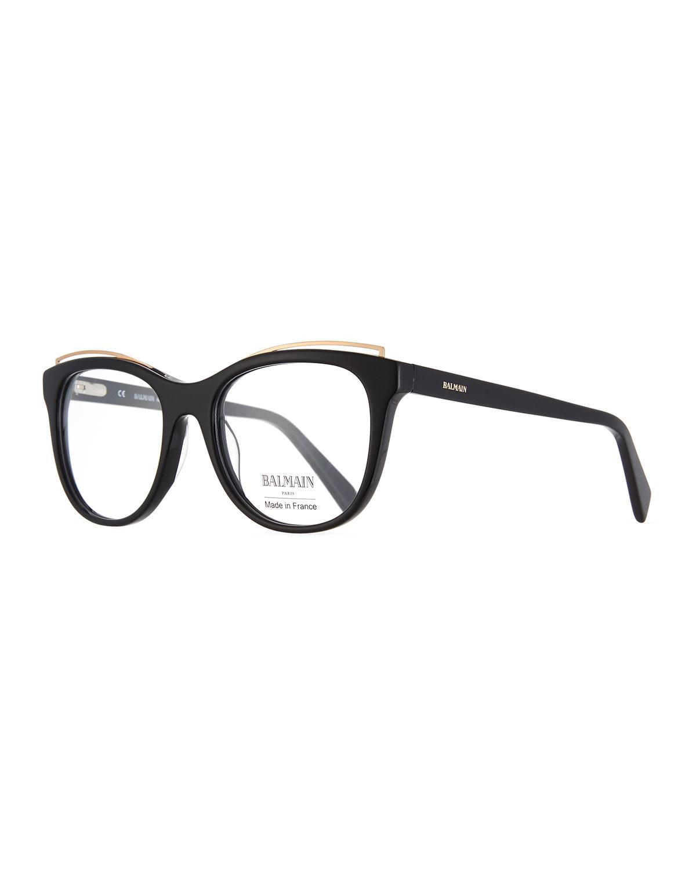 Balmain Modified Cat-Eye Acetate Optical Frames   Neiman Marcus