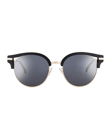 Semi-Rimless Round Mirrored Sunglasses, Black Pattern