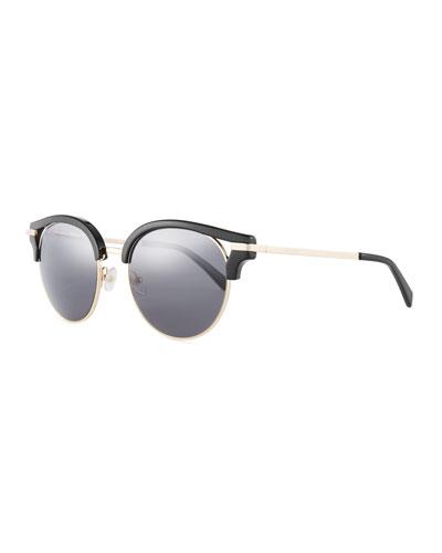 Semi-Rimless Round Mirrored Sunglasses, Black Pattern