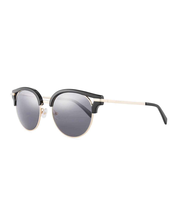 f4bde8a6de0 Balmain Semi-Rimless Round Mirrored Sunglasses
