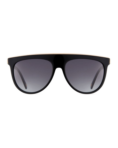 Flattop Acetate Aviator-Style Sunglasses, Black Pattern