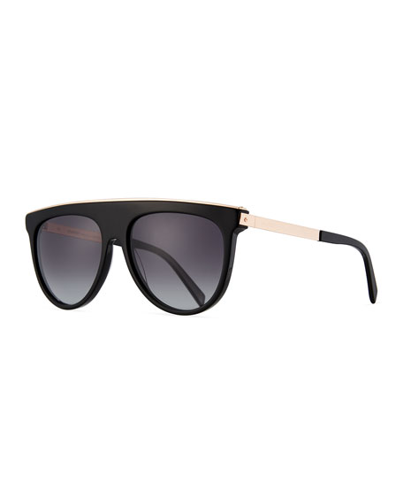 Balmain Flattop Acetate Aviator-Style Sunglasses, Black Pattern