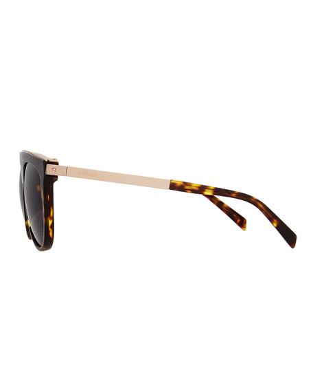 Acetate & Metal Flattop Aviator Sunglasses