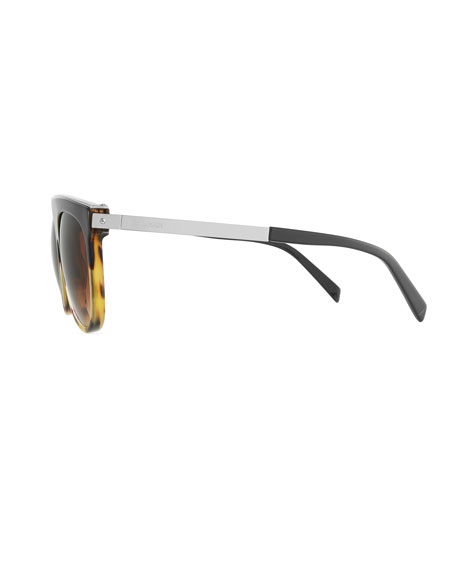Flattop Two-Tone Acetate Aviator-Style Sunglasses, Beige