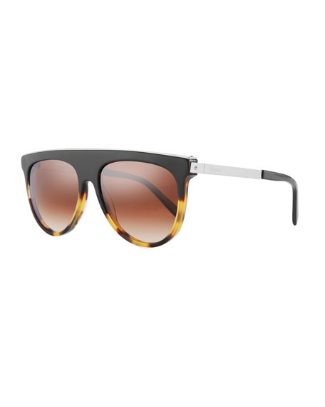Balmain Flattop Two-Tone Acetate Aviator-Style Sunglasses, Beige