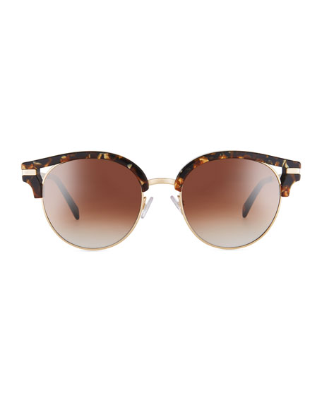 Semi-Rimless Round Mirrored Sunglasses, Brown Pattern