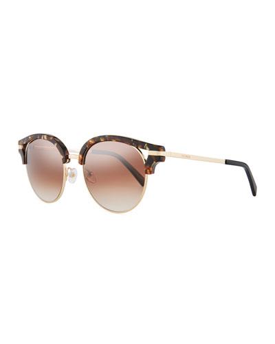 Semi-Rimless Round Mirrored Sunglasses, Brown Pattern