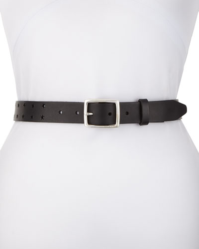 Boyfriend Star-Cutout Adjustable Leather Belt