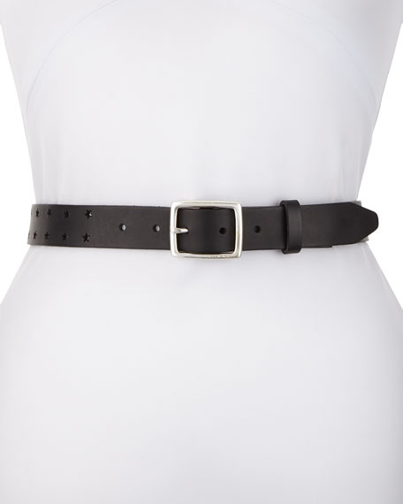 Boyfriend Star-Cutout Adjustable Leather Belt