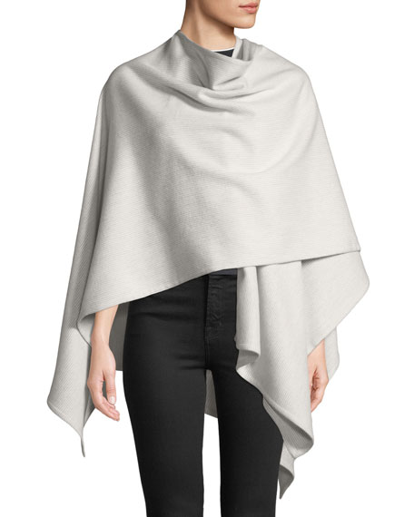 Rag & Bone Skinny-Stripe Wool Wrap Poncho