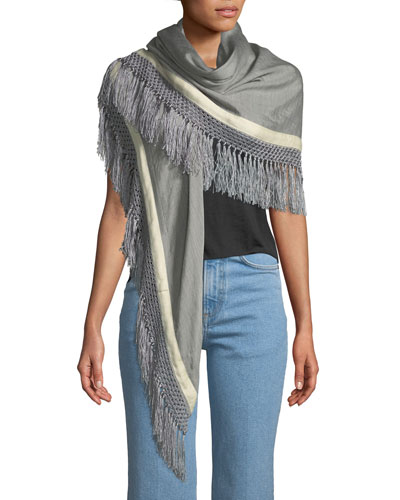 Sport Stripe Silk-Wool Poncho w/ Stripes & Fringe