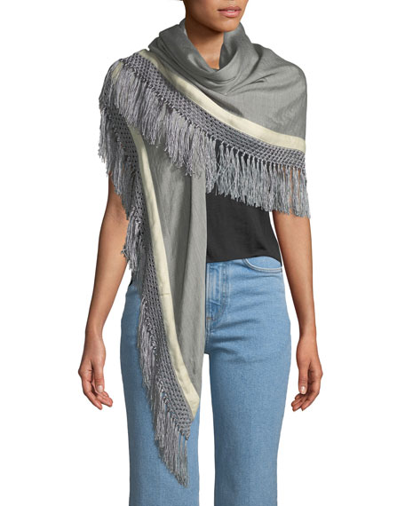 Sport Stripe Silk-Wool Poncho w/ Stripes & Fringe