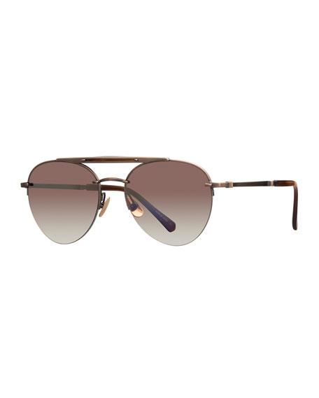 Mr. Leight Platinum Plated Titanium Aviator Sunglasses w/ Acetate Trim, Brown/Gold