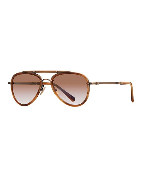 Mr. Leight Platinum Plated Titanium Aviator Sunglasses w/ Acetate Trim, Gold
