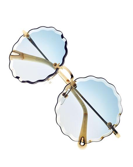 Rosie Rimless Scalloped Sunglasses