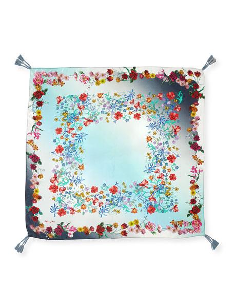 Floral-Print Silk Tasseled Scarf