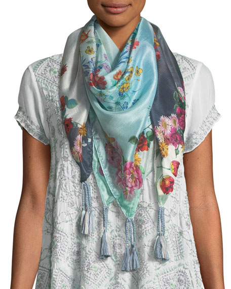 Johnny Was Floral-Print Silk Tasseled Scarf
