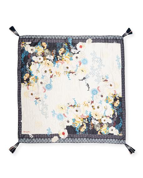 Vino Tasseled Floral-Print Silk Scarf