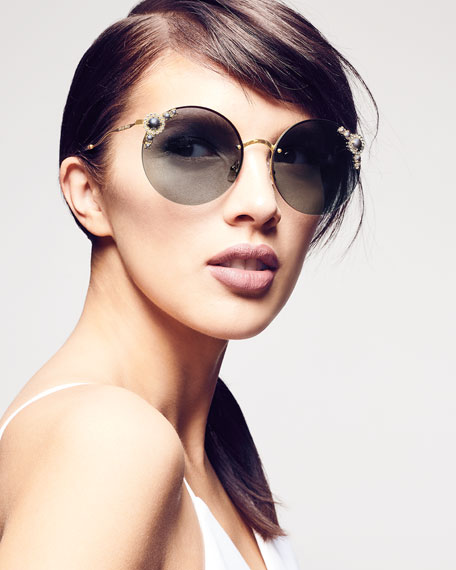 Stone-Trim Semi-Rimless Round Sunglasses