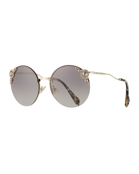 Miu Miu Stone-Trim Semi-Rimless Round Sunglasses