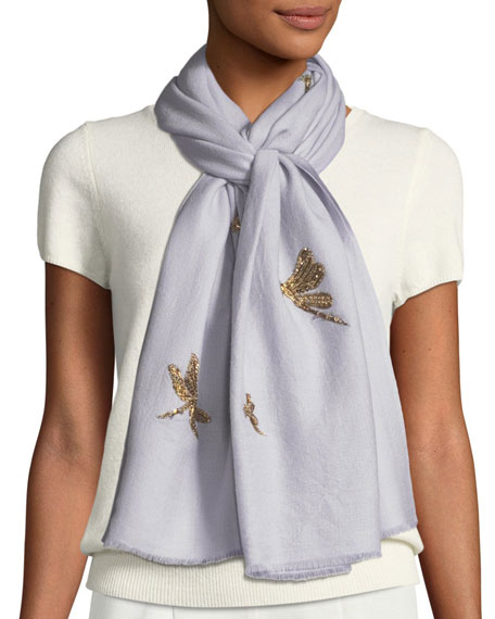 K Janavi Jeweled Dragonfly Scarf