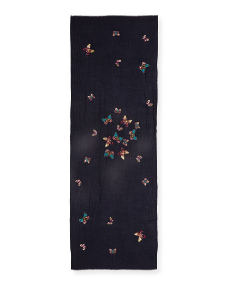 Flocks of Butterfly Embellished Scarf