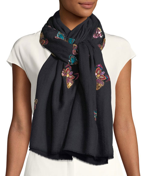 K Janavi Flocks of Butterfly Embellished Scarf